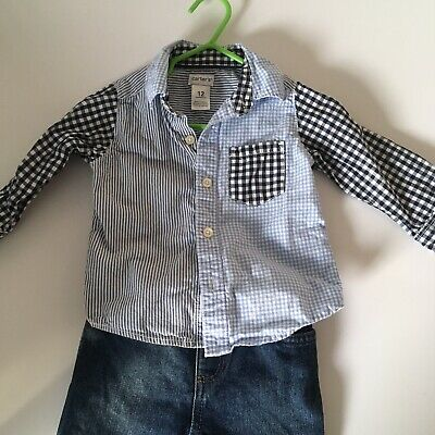 Carters Boy Checkered Blue White Shirt Size 12 Mths