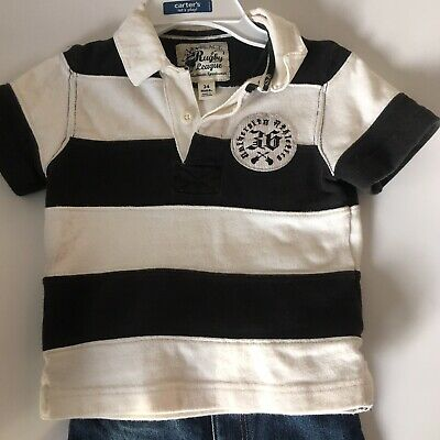 The Childrens Place Boys Black White Striped Short Sleeve Polo Shirt 24 Months