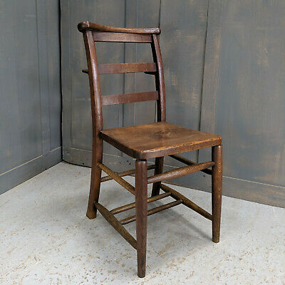 Unusual All Oak Antique Ladderback Church Chapel Chairs with Rear Bookshelf