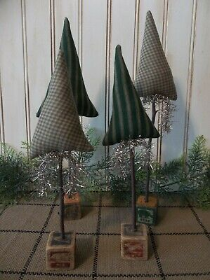 Primitive Christmas and/or Winter Trees on Antique Wood Children's Blocks