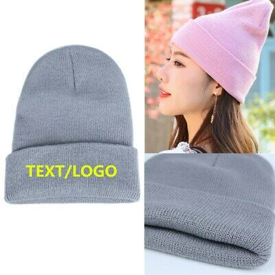 RC31X Beanie Adult Cuffed Woolly Knit Ski Hat with Name Slogan Personalised