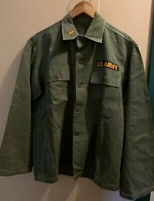 Vintage 40s WWII US ARMY HBT Herringbone Uniform 13 Star Button Jacket.