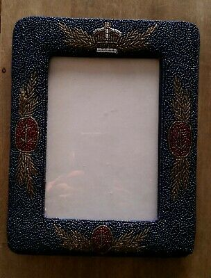 Vintage glass beaded on silk picture frame nautical royal theme 19 cm x 24 cm