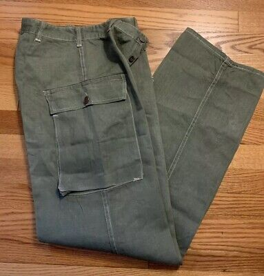 Vintage 40s WWII US ARMY HBT Herringbone 13 Star Buttons Trousers Pants. Rare.