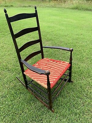 "Antique 41"" Tall SHAKER ROCKING CHAIR Ladder Back STAMPED No. 7 ALL ORIGINAL!"