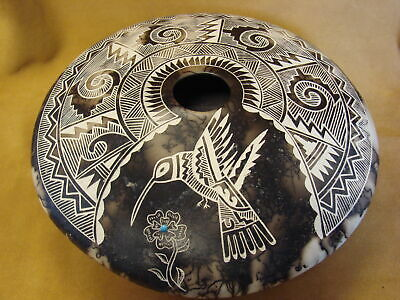 Acoma Indian Pottery Horse Hair Hummingbird Seed Pot by Gary Yellow Corn Louis