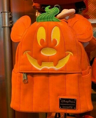 New w/ tags! Disney Parks Mickey Pumpkin Loungefly Mini Backpack Free Shipping!