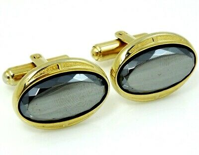Vintage Cufflinks Oval Hematite Goldtone Formal