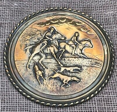 Vintage Brass Plaque Embossed Relief Horse Hunting Scene 8 Inches