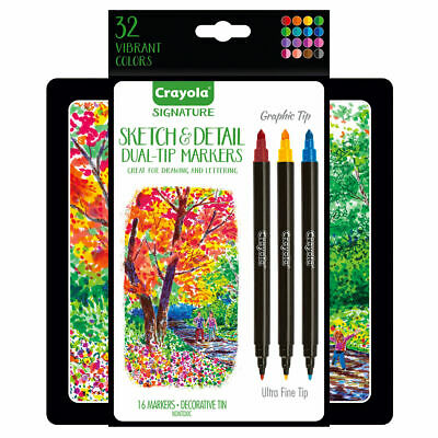 Crayola Sketch & Detail Markers - Artists Calligraphy Markers in decorative tin