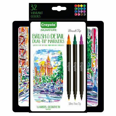 Crayola Brush and Detail Markers - Artists Calligraphy Markers in decorative tin