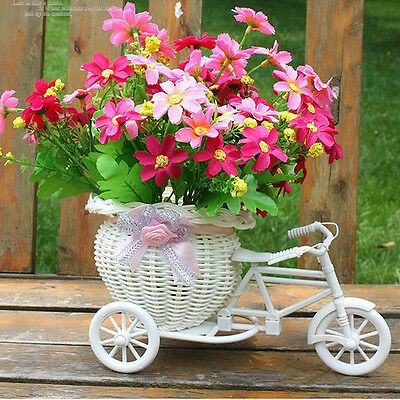 Plastic Tricycle Bike Design Flower Basket Container For Home Wedding Decor^S