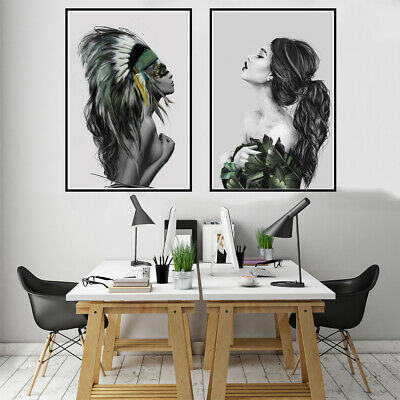 Nordic Modern Abstract Inkjet Canvas Painting Indian Women Art Poster Home Decor