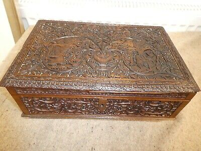 Intricately Carved Antique Wooden Document/Bible Box Java/Bali Jarapara