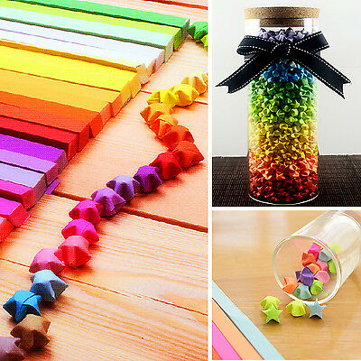 240pcs Origami Lucky Star Paper Strips Folding Paper Ribbons Colors HF