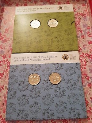 2014 £1 Floral England And Wales / Scotland And Northern Ireland B/Unc Coin Pack