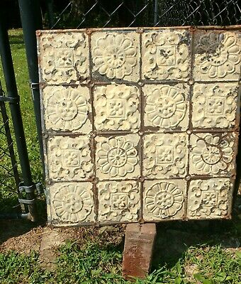 Antique Metal Ceiling Tiles - Industrial Architectural Salvaged Vintage 24x24