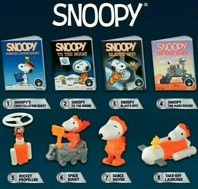 2019 McDONALDS PEANUTS SNOOPY NASA HAPPY MEAL TOYS AND BOOKS! SHIPPING NOW!