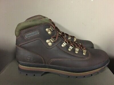 Timberland 95100 Classic Euro Mens Leather Hikers Boots Brown Smooth New 2019