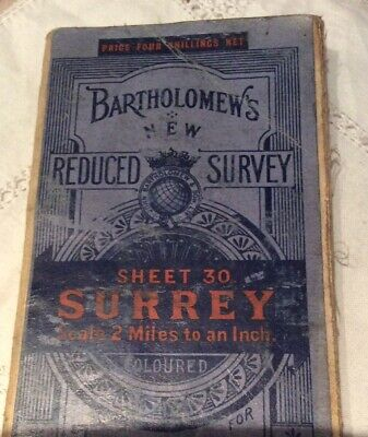 Bartholomew's Reduced Survey Vintage Map Of Surrey; Dissected Cloth Mounted