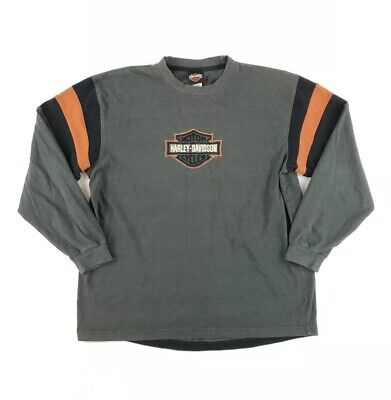 Harley Davidson Long Sleeve T Shirt Size Large Embroidered Logo Classic Colorway