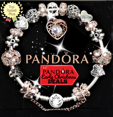 AUTHENTIC Pandora Charm Bracelet Silver Bangle Rose Gold and Love European Charm