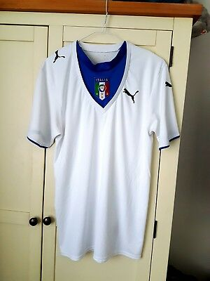 Italy Away Shirt 2006. Adults Small. Puma. White Short Sleeves Football Top Only