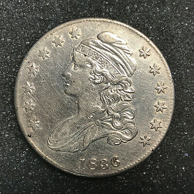 1836 Capped Bust Half Dollar AU details - cleaned