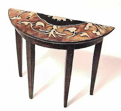 DOLLS HOUSE demi lune SIDE TABLE Inlaid wood effect marquetry look handmade12th