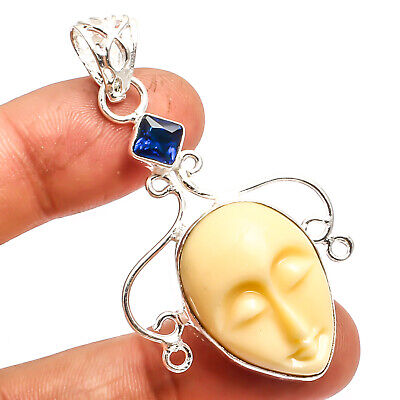 Carved Bone Face Blue Sapphire 925 Silver Plated Pendant Jewelry Sz 2.34""