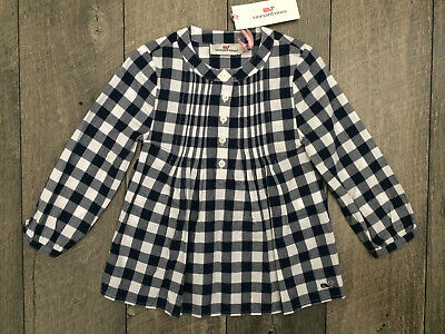 VINEYARD VINES Toddler Lookout Gingham Popover Woven Top Girls 2T Blue White NWT