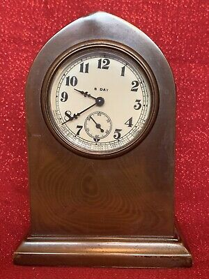Antique Sessions 8 Day Bronze Mantel Clock Case Dial Brass Beveled Glass Running