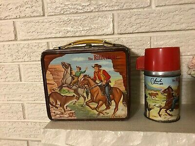 Rare CHUCK CONNORS COWBOY Rifleman VINTAGE METAL TV LUNCHBOX w THERMOS C1960