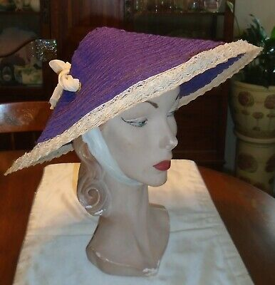 VINTAGE 1940s 50s PURPLE STRAW SUN BONNET PICTURE HAT CHINESE COOLIE STYLE As Is