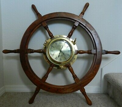 "36"" Dia Captain's Ship wheel Wall Mount brass Quartz Clock Lacquered wood"