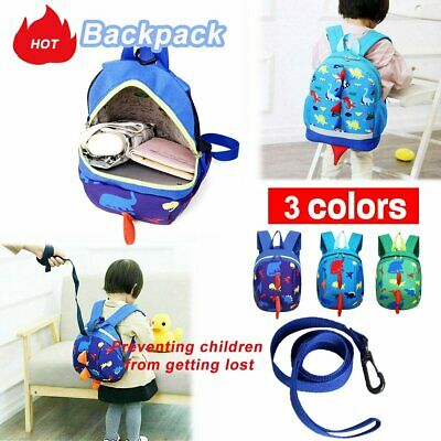 Kids Baby Safety Harness Backpack Leash Child Toddler Anti-lost Dinosaur Bag MN