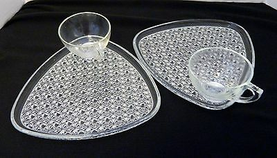 Indiana glass Daisy and Button Snack Set Snack Plates & Cups Two VTG