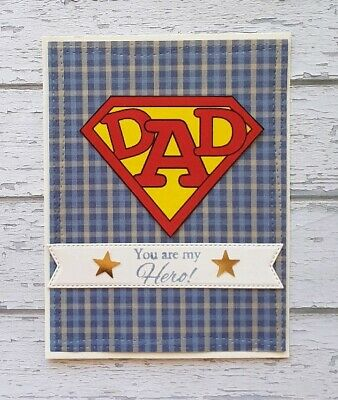 Handmade Fathers Day Card Super Hero Dad My Hero Father Happy Father's Day