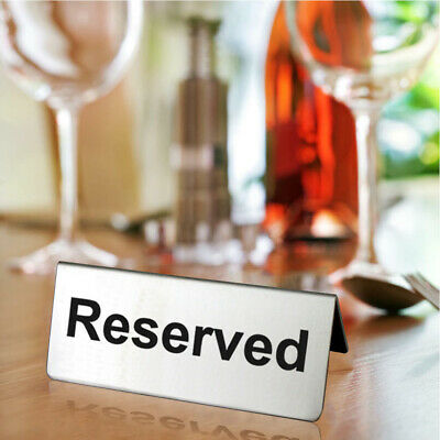 Hotel Takeaways Reserved Reusable Stainless Steel Table Sign Double Sided Cafe