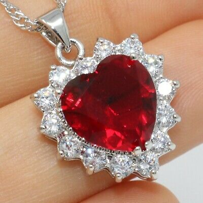 Sparkling Heart Red Ruby Necklace Pendant Women Jewelry 14K White Gold Plated