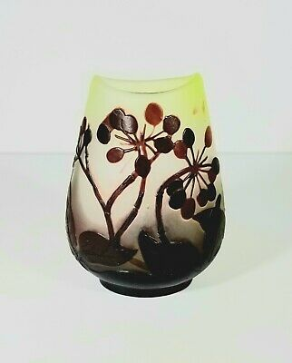 Signed Galle 3 Color French Art Nouveau Cameo Glass Vase Sold at No Reserve!