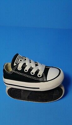 Converse All Star Black Canvas Toddler/Infant Lace up Sneakers Size 3 Shoes EUC