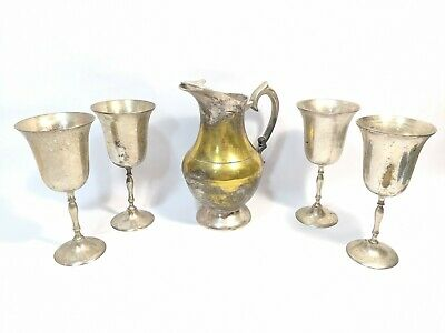 Vintage Engraved EPNS From India set 4 Goblets Cups and 1 Pitcher
