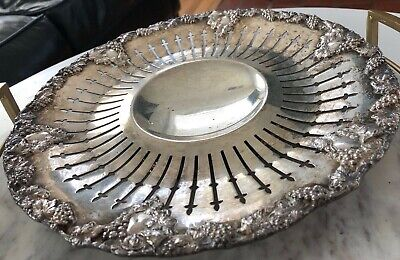 Vintage Lawrence B Smith Company Silverplate  Round Tray Platter Dish