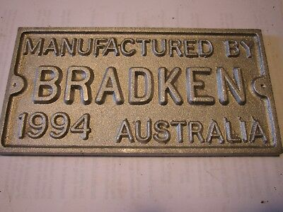 "Original Aluminium Builders Plate - ""Manufactured by Bradken Australia 1994"""