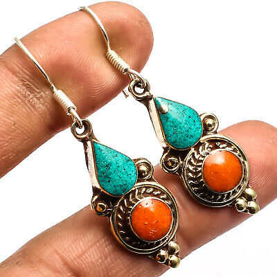 Red Coral Blue Turquoise Nepalese 925 Silver Plated Earring Jewelry Sz 2.15""