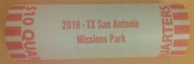 "2019 SAN ANTONIO MISSIONS, TX ""ATB"" NATIONAL PARK QUARTER BANK WRAP ROLL P or D"
