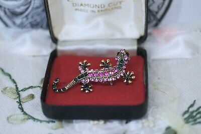 Vintage Jewellery Brooch Lizard Gecko Crystal Rhinestone Antique Jewelry Pin