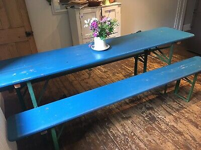 Vintage Bierkeller Table And Benches /old Pine
