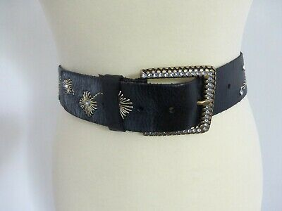 Stunning black leather woven embroidered gold diamante wide waist belt 90cm VGC